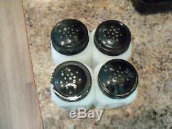Hazel Atlas VERTICAL LINES Milk Glass Range Shakers Salt Pepper Sugar Flour