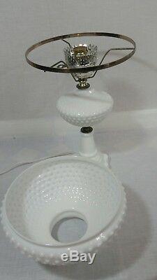 Hobnail Milk Glass Vintage White Table Lamp, Hurricane