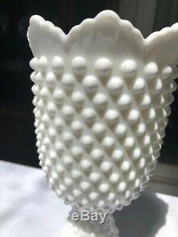 Hobnail White Milk Glass by Fenton Footed Urn with Lid 11 Tall Flawless