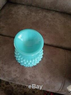 Htf Fenton Turquoise Blue Milk Glass Hobnail Pedestal Ruffle Candy Compote Dish