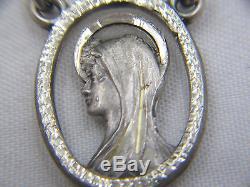 Htf Lovely Vintage Sterling & Snow White Milk Glass Aurora Borealis Rosary