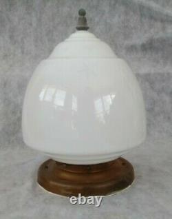 Huge Antique Victorian Milk Glass Globe Brass Ceiling Pendant Mount Light