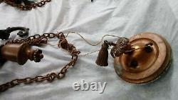 Huge Antique Victorian Milk Glass Globe Brass Hanging Ceiling Pendant Light
