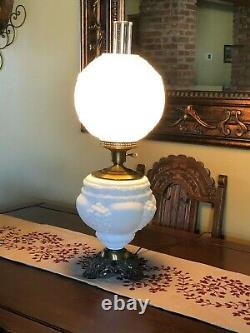Huge Fenton Grape Milk Glass Gone with the Wind Lamp 29 Tall WORKS, BEAUTIFUL