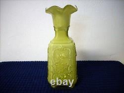 Imperial Glass Mephistopheles Green With white Milk Glass Vase Devil Face