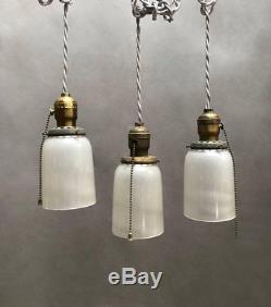 Industrial Milk Glass and Brass Pendant Lights