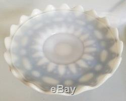 LACE DEW DROP CAKE STAND BY PHOENIX SCULPTURED ARTWARE MILK GLASS With COBALT ST