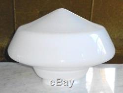LARGE Art Deco Light Globe Diner / School House Mushroom White Milk Glass Globe