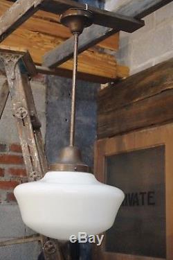 Large VINTAGE OLD SCHOOL HOUSE LIGHT FIXTURE MILK GLASS GLOBE ANTIQUE Industrial