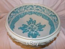 Large Victorian Blue & White Milk Glass Chandelier Light Fixture Globe
