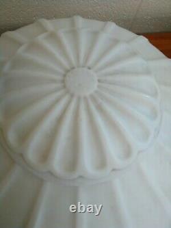 Large Victorian White Milk Glass Chandelier Light Fixture Globe