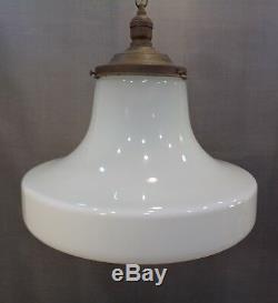 Large Vintage Antique Hanging Swag Lamp Mushroom White Milk Glass Bank School