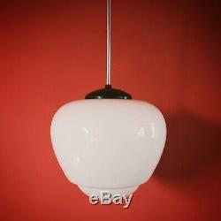 Large Vintage Czech School White Glass Pendant Light Opaline Milk Glass Globe