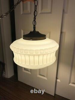 Large Vintage Milk Glass Chandelier White Glass Pendant Style with Brass Canopy
