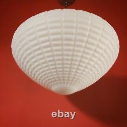 Large Vintage White Milk Glass Opaline Pendant Ceiling Light