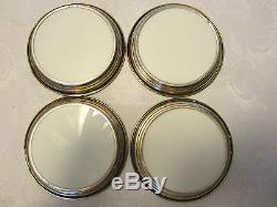Lenox 4 Coasters Art Deco white & sterling silver milk glass cars 4 1/2 vintage