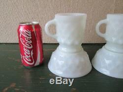 Lot 10 Anchor Hocking Fire King Kimberly 5 Coffee Mugs & 5 Bowls MILKGLASS WHITE