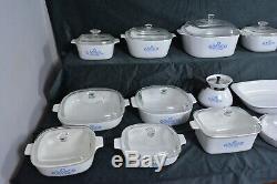 Lot 30 Pieces CORNING WARE Blue Cornflower VTG. 60s Casserole Baking Dutch Oven
