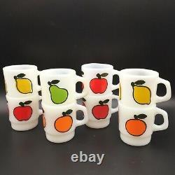 Lot / 8 Fire King Fruit Mugs Stacking Apple Pear Orange Lemon Milk Glass Vintage