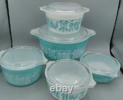Lot Pyrex Butterprint Covered Casserole dish 5 pcs + lids # 475 473 (2) 472 471