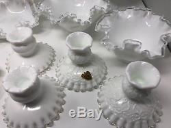 Lot of 17 Vintage Fenton Milk Glass Silver Crest Candlesticks Candy Dish Vase