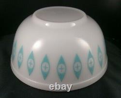 MCM Pyrex #403 Atomic Eyes Unmarked Turquoise Milk Glass Large Chip Mixing Bowl