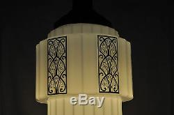 Massive Art Deco Skyscraper -wedding Cake Nouveau Design On Original Milk Glass