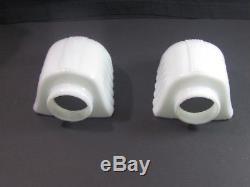 Matching Vintage Bathroom/Wall Sconces Porcelain Bases Milk Glass Shades