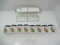 McKEE Tipp City vintage shaker spice jars milk glass yellow daisy black lid rack