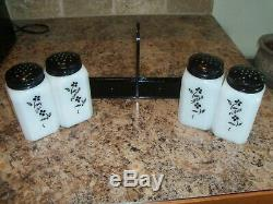 McKee CLIMBING VINES Milk Glass Range Shakers withCarry Caddy