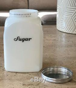McKee Opal White Milk Glass Script Sugar Lettering Roman Arch Canister Jar