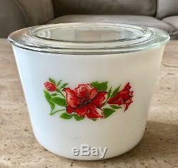 McKee Red Floral Rose Amaryllis White Milk Glass Medium 36 Ounce Canister Jar