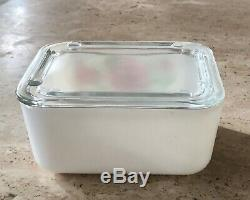 McKee Red Floral Rose Amaryllis White Milk Glass Small Refrigerator Box Dish Jar
