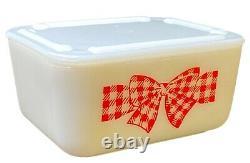 McKee Red Gingham Checkered Bow Small 5X4 Refrigerator Fridge Dish Jar & Lid