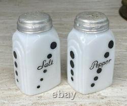 McKee White Glass with Black Polka Dots Roman Arch Salt & Pepper Range Shakers