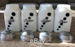 McKee White Milk Glass Black Polka Dot Salt Pepper Flour Sugar Range Shaker Set