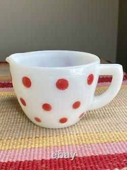 McKee White Milk Glass Red Polka Dots 2 Cup Measuring Pitcher