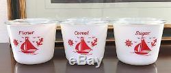 McKee White Milk Glass Red Ships Sailboats 3 Piece Kitchen Canister Jar Set