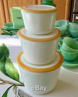 McKee Yellow Bands Rims White Milk Glass 3 Piece Stacking Canister Jar Set