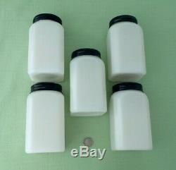 Mckee Depression (5) Milk Glass Range Spice Shakers / Canisters STICK POTS