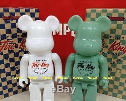 Medicom Be@rbrick Fire King 400% Milk Glass White & Jade Green Bearbrick Set 2pc