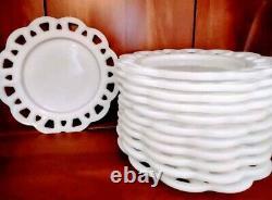 Milk Glass Luncheon Plates set of 12