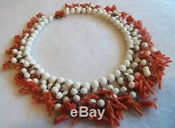 Miriam HaskelL Signed Genuine Coral Dangle White bead Necklace Fabulous 50'S