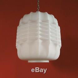 Modernist Bauhaus White Opaline Milk Glass Pendant Ceiling Light Plus Chain