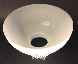 New 10 Opal White Milk Glass Rib Swirl Student Lamp Shade, USA made, #SH010