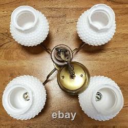 Nice Vintage White Hobnail Milk Glass Globe Lamp 4 Light Chandelier Mid Century