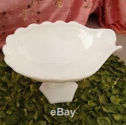 Ntique Westmoreland White Milkglass She'll With Lrge Dolphin Legged Candy Dish