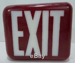 Old Art Deco White Milk Glass EXIT Sign wedge V shade Red over White 2x side