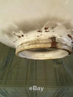 Old Standard Crown Gasoline/Oil Milk Glass Pump Globe 17X17 Inches 6 In Base