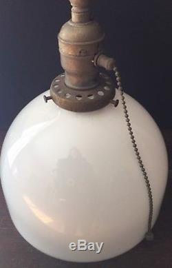 Old Vtg Antique Brass Pendant Ceiling Light Fixture White Milk Glass Globe Shade